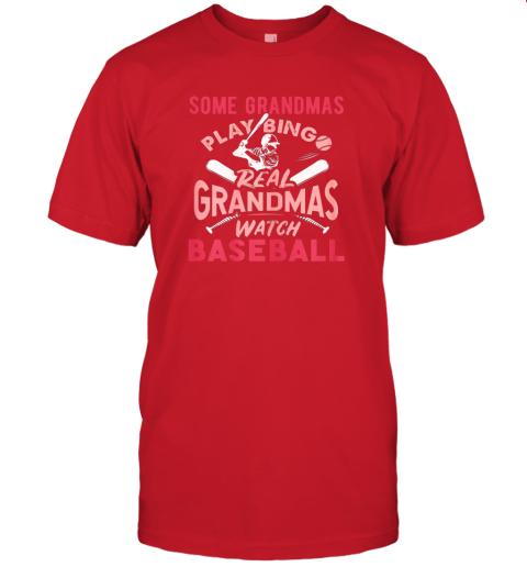 peoz some grandmas play bingo real grandmas watch baseball gift jersey t shirt 60 front red