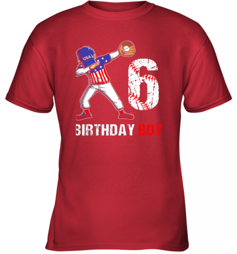 vqcl kids 6 years old 6th birthday baseball dabbing shirt gift party youth t shirt 26 front red