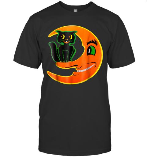 Vintage Halloween Beistle Cat on the Moon Horror Gift Tshirt T-Shirt