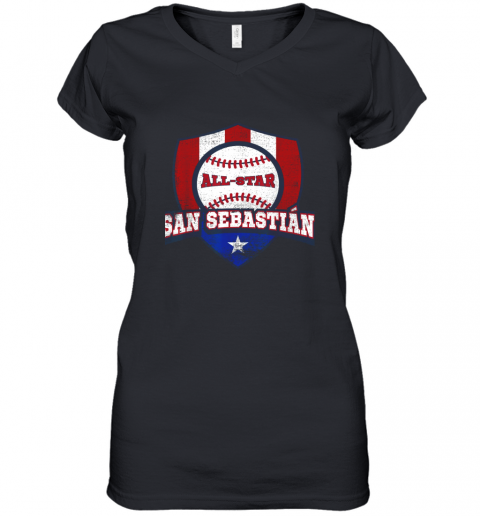 San Sebastian Puerto Rico Puerto Rican PR Baseball Women's V-Neck T-Shirt