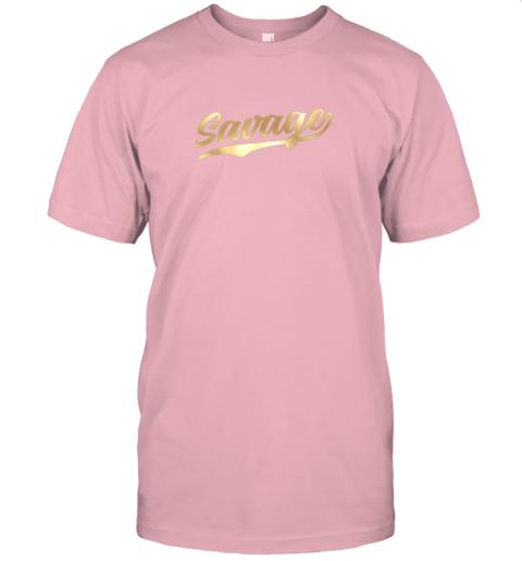 rj8n savage shirt retro 1970s baseball script font jersey t shirt 60 front pink