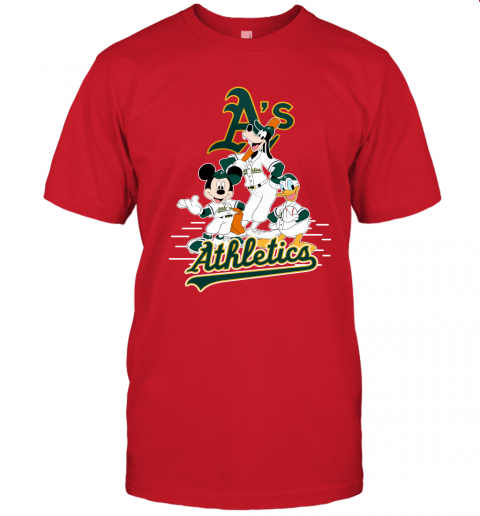 1eru oakland athletics mickey donald and goofy baseball jersey t shirt 60 front red