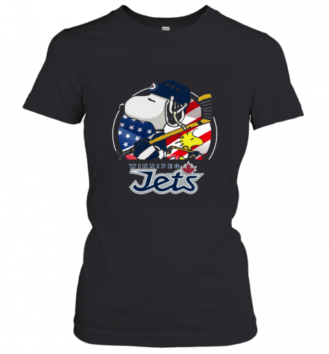 Winnipeg Jets  Snoopy And Woodstock NHL Women's T-Shirt