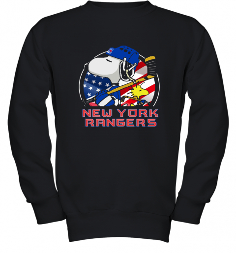 New York Ranger Ice Hockey Snoopy And Woodstock NHL Youth Sweatshirt