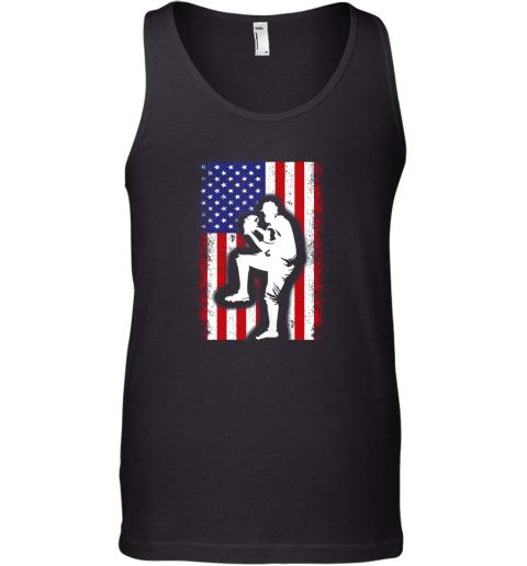 Vintage USA American Flag Baseball Player Team Gift Tank Top