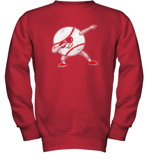 2pwu kids funny dabbing baseball player youth shirt cool gift boy youth sweatshirt 47 front red