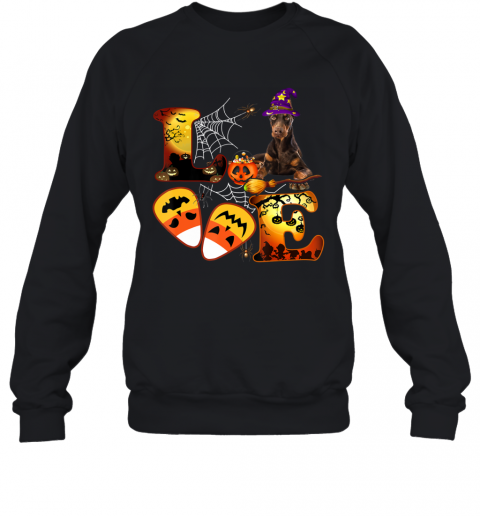 Love Dog Doberman Dog Cool Halloween Dog Lover Gift Sweatshirt