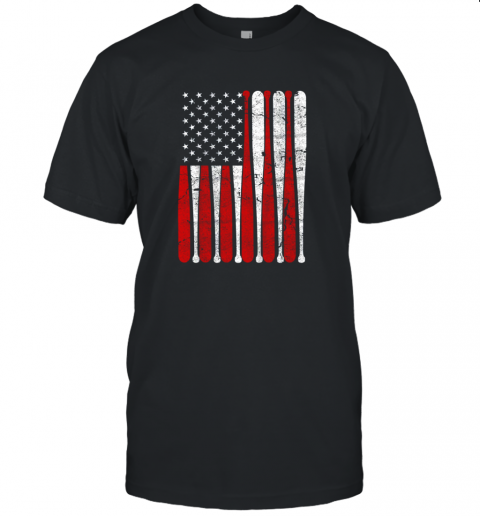 Vintage American Flag Baseball Men Boys Apparel Dad 4th July Gift Unisex Jersey Tee
