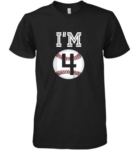 Kids Birthday Boy 4 Baseball 4th Party Gift Premium Men's T-Shirt