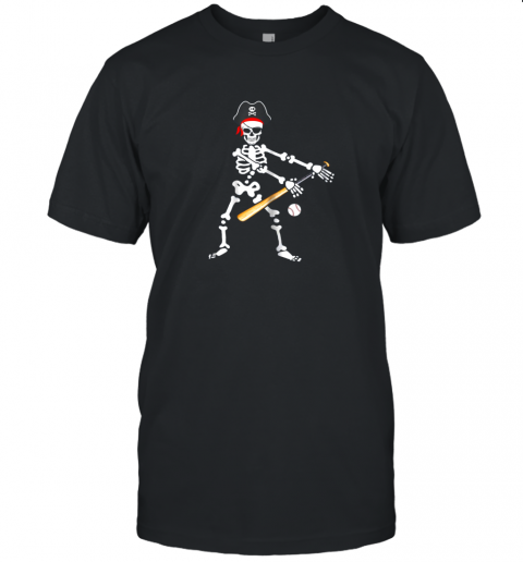 Skeleton Pirate Floss Dance With Baseball Shirt Halloween Unisex Jersey Tee