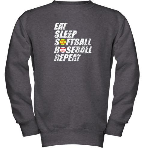 ypmz softball baseball repeat shirt cool cute gift ball mom dad youth sweatshirt 47 front dark heather