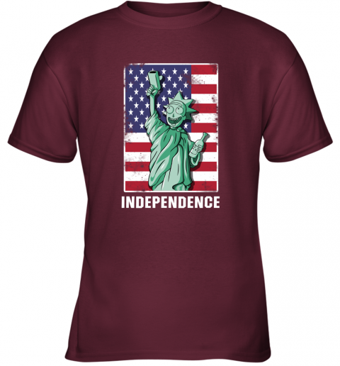 hn9l rick and morty statue of liberty independence day 4th of july shirts youth t shirt 26 front maroon