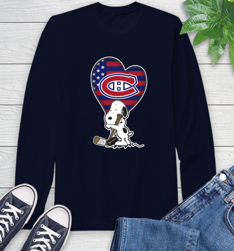Montreal Canadiens NHL Hockey The Peanuts Movie Adorable Snoopy Long Sleeve T-Shirt 4