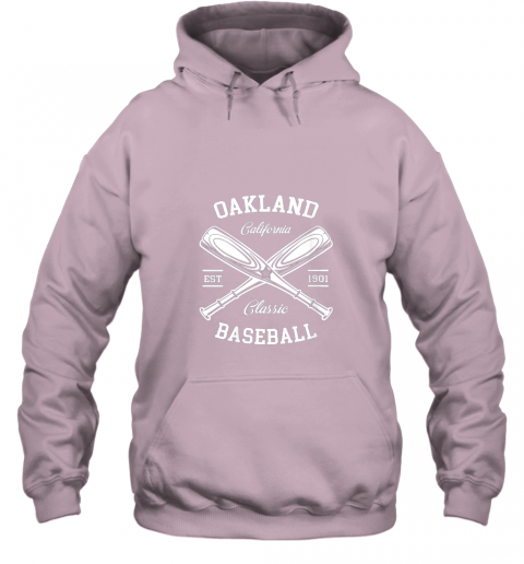 cyzm oakland baseball classic vintage california retro fans gift hoodie 23 front light pink