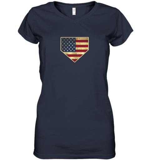 kquw vintage american flag baseball shirt home plate art gift women v neck t shirt 39 front navy