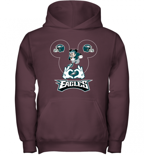 wom3 i love the eagles mickey mouse philadelphia eagles youth hoodie 43 front maroon