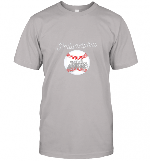 yc2t philadelphia baseball philly tshirt ball and skyline design jersey t shirt 60 front ash