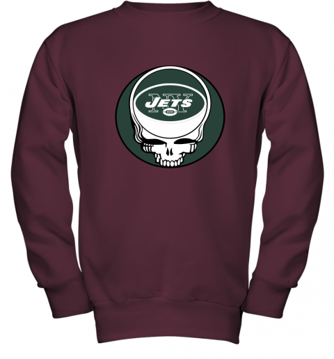 vato nfl team new york jets x grateful dead logo band youth sweatshirt 47 front maroon