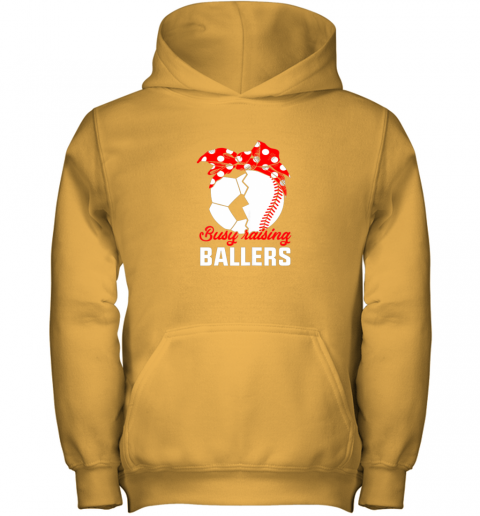 cwlg busy raising a ballerfunny baseball soccer mom youth hoodie 43 front gold