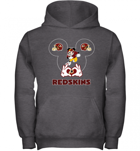 wcro i love the redskins mickey mouse washington redskins youth hoodie 43 front dark heather