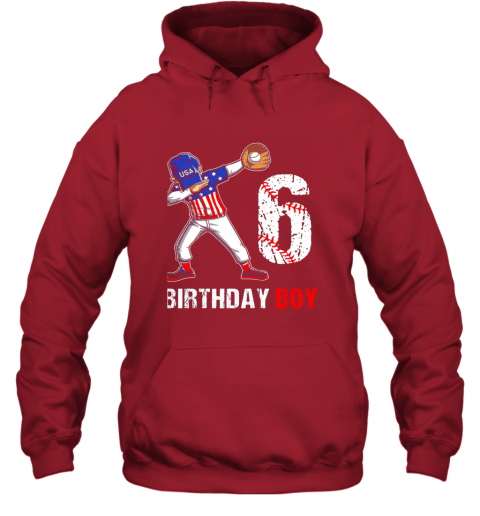 j82m kids 6 years old 6th birthday baseball dabbing shirt gift party hoodie 23 front red