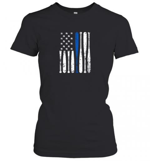 mbs8 thin blue line leo usa flag police support baseball bat ladies t shirt 20 front black