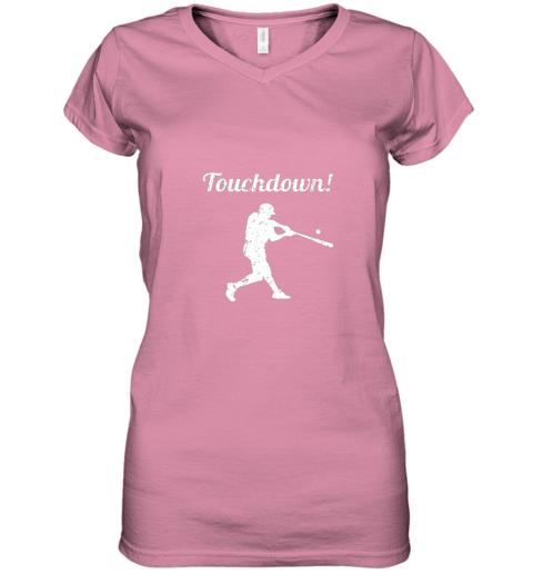 plpp touchdown funny baseball women v neck t shirt 39 front azalea