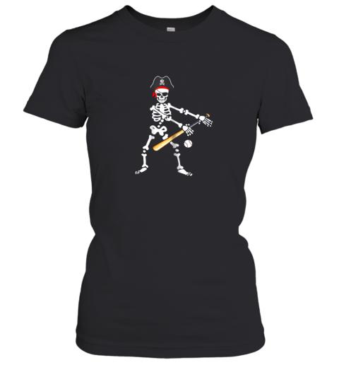 Skeleton Pirate Floss Dance With Baseball Shirt Halloween Women's T-Shirt