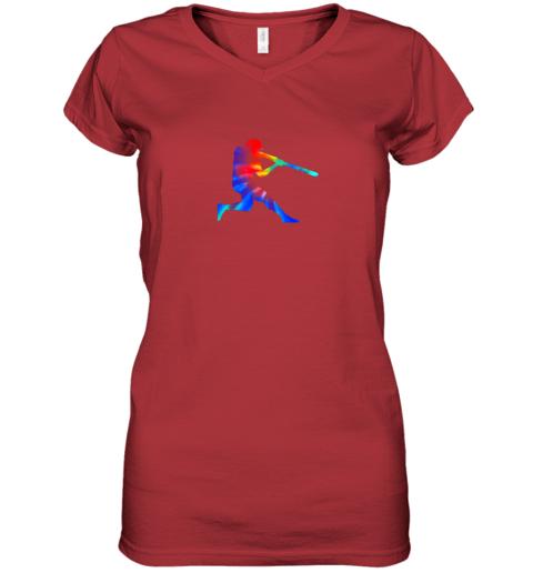 kroj tie dye baseball batter shirt retro player coach boys gifts women v neck t shirt 39 front red