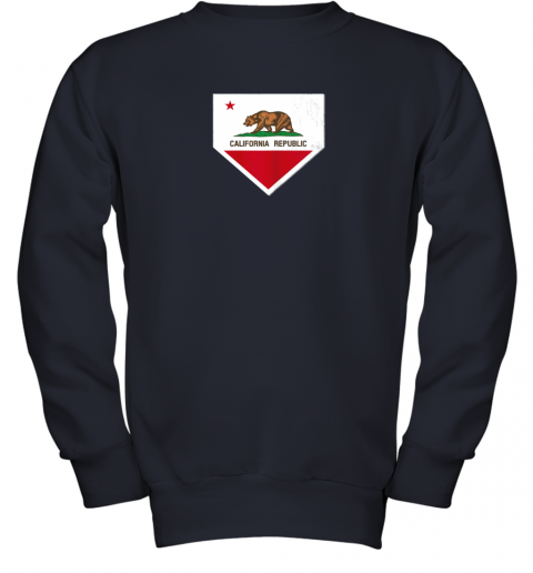 yykv vintage baseball home plate with california state flag youth sweatshirt 47 front navy