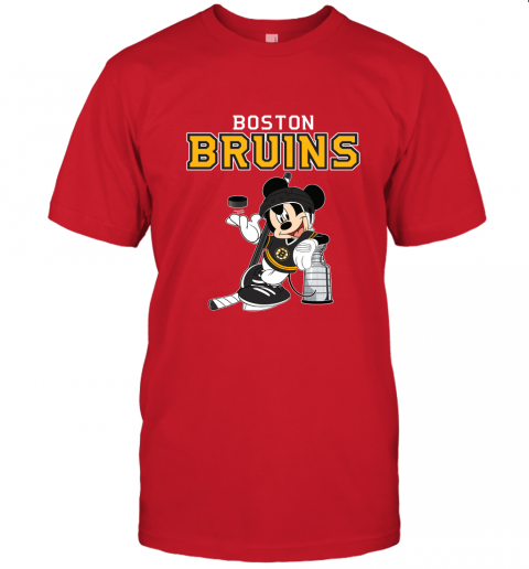 Mickey Boston Bruins With The Stanley Cup Hockey NHL Unisex Jersey Tee