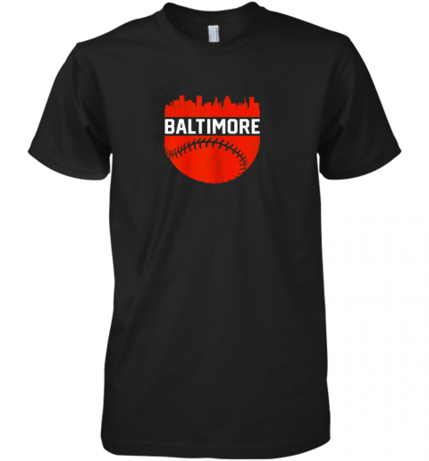 Vintage Downtown Baltimore Maryland Skyline Baseball Premium Men's T-Shirt