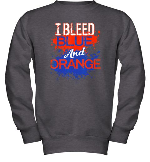 ixtd i bleed blue and orange fan shirt football soccer baseball youth sweatshirt 47 front dark heather