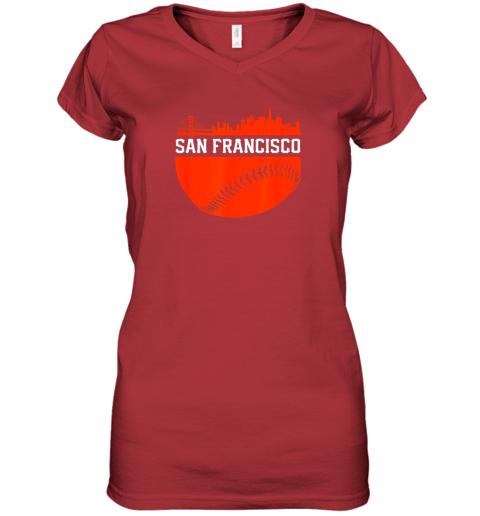 dgjs san francisco baseball vintage sf the city skyline gift women v neck t shirt 39 front red