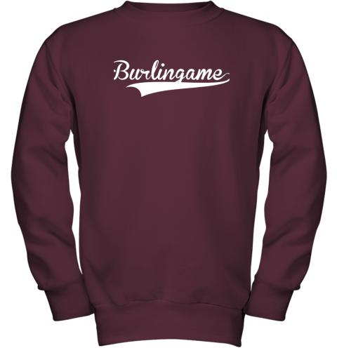 kz5u burlingame baseball softball styled youth sweatshirt 47 front maroon
