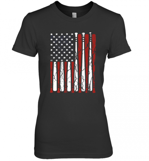 American Flag Baseball Bat 4Th Of July Premium Women's T-Shirt