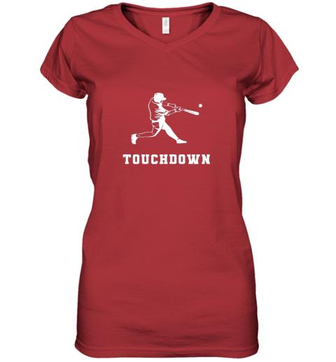 v1ed touchdown baseball shirtfunny sarcastic novelty women v neck t shirt 39 front red