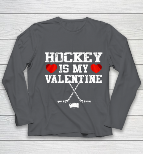 Hockey Is My Valentine Youth Long Sleeve 6