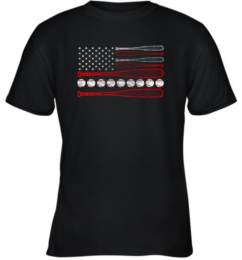 Vintage American Flag Baseball 4th July Youth T-Shirt