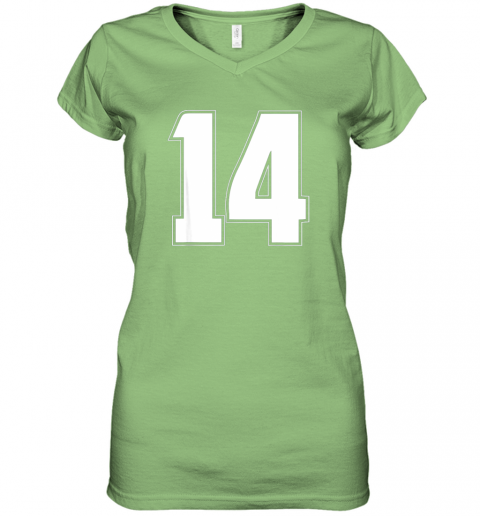 56jl halloween group costume 14 sport jersey number 14 14th bday women v neck t shirt 39 front lime