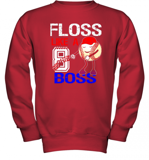 ovpk kids 8 year old 8th birthday floss like a boss baseball youth sweatshirt 47 front red
