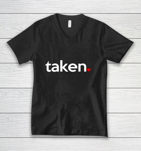 Taken Sorry I m Taken Gift for Valentine 2021 Couples V-Neck T-Shirt