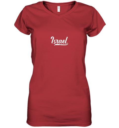 ku0v israel baseball national team fan cool jewish sport women v neck t shirt 39 front red