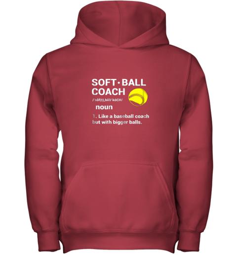 1i7t soft ball coach like baseball bigger balls softball youth hoodie 43 front red