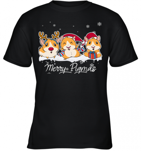 Merry Pigmas Funny Guinea Pig Christmas Youth T-Shirt