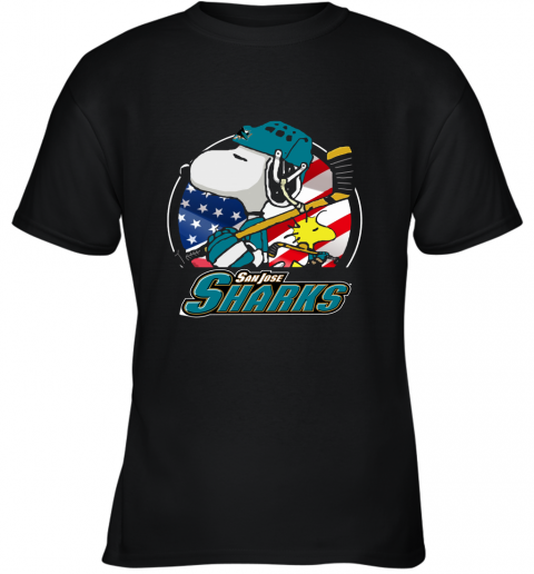 Sanjose Sharks Ice Hockey Snoopy And Woodstock NHL Youth T-Shirt