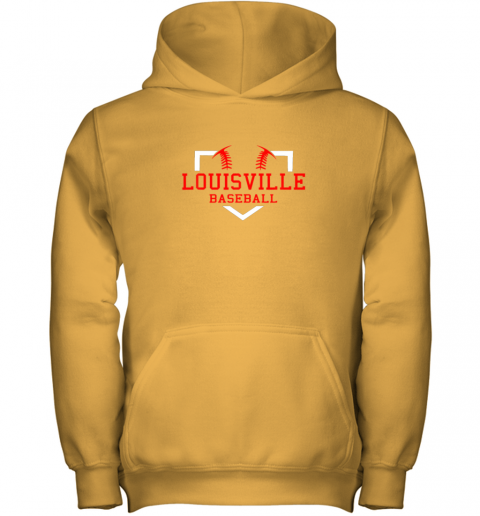 39r5 vintage louisville baseball kentucky gift youth hoodie 43 front gold