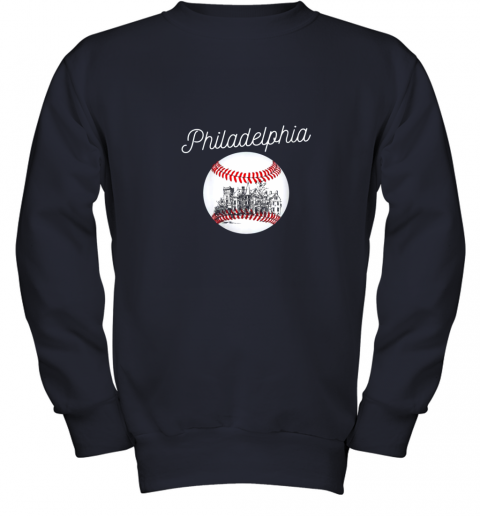 1ghk philadelphia baseball philly tshirt ball and skyline design youth sweatshirt 47 front navy