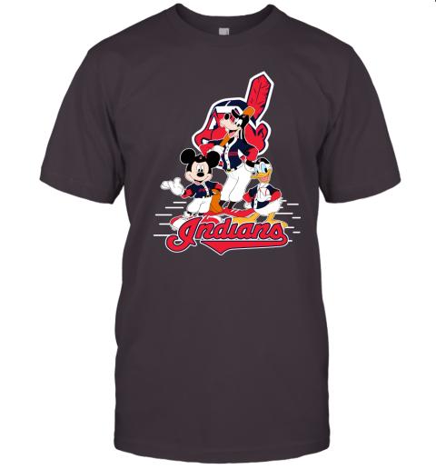 j8x3 cleveland indians mickey donald and goofy baseball jersey t shirt 60 front dark grey