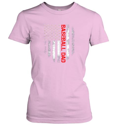 ktrn vintage usa american flag proud baseball dad player ladies t shirt 20 front light pink